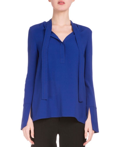 Long-Sleeve Tie-Neck Tunic, Cobalt