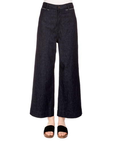 High-Waist Wide-Leg Ankle Pants, Indigo