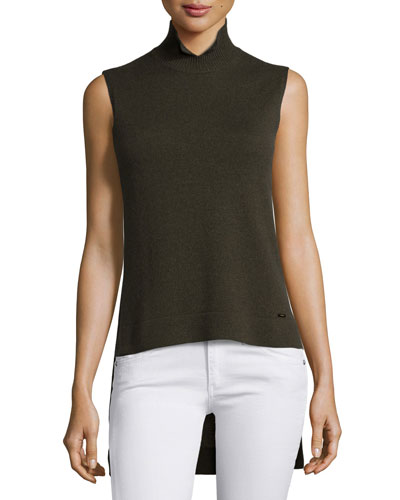 Notched Mock-Neck High-Low Cashmere Sweater, Turtle