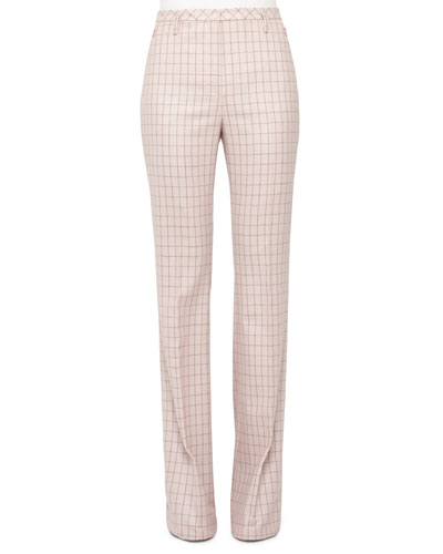 High-Waist Boot-Cut Check Pants, Flamingo/Steppe