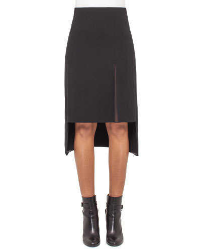 High-Waist Split-Hem Skirt, Black