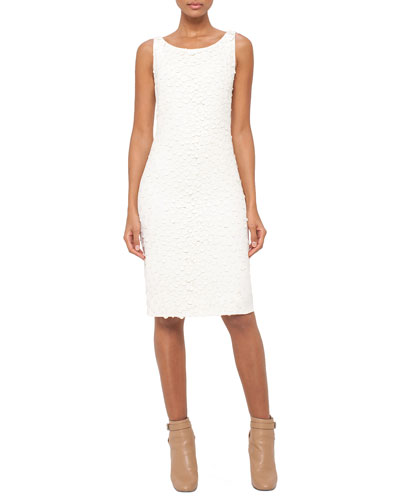 Sleeveless Embellished-Front Sheath Dress, Pelican