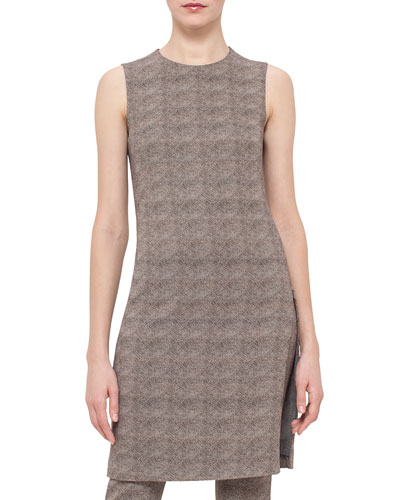 Sleeveless Turtle-Print Sheath Dress, Elephant