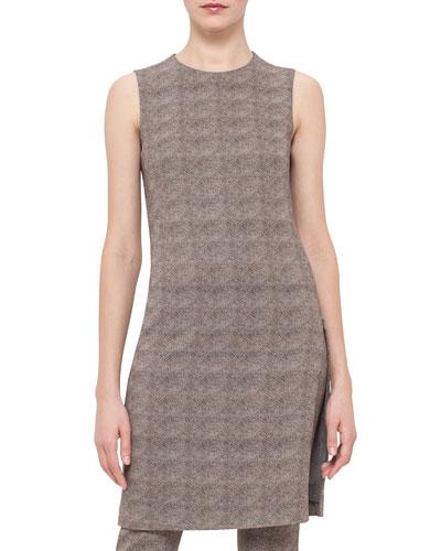 Sleeveless Turtle-Print Sheath Dress, Elephant