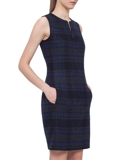 Reversible Zip-Front Sheath Dress, Starling