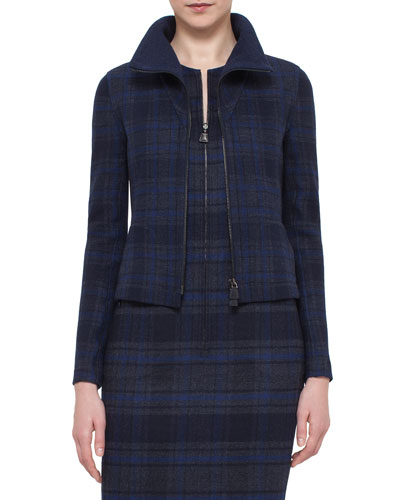 Eda Fitted Plaid Wool Jacket, Blue Jay