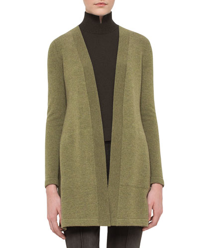 Open-Front Long Cashmere Cardigan, Turaco