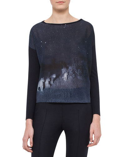 Lions In The Night Long-Sleeve Pullover, Starling