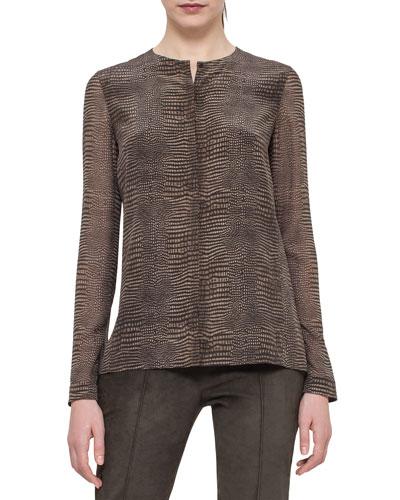 Long-Sleeve Tortoise-Print Silk Blouse