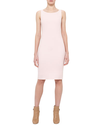Sleeveless Wool Sheath Dress, Flamingo