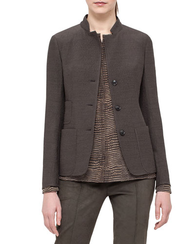 Single-Breasted Mock-Neck Jacket, Turtle