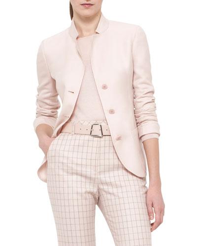 Single-Breasted Mock-Neck Jacket, Flamingo