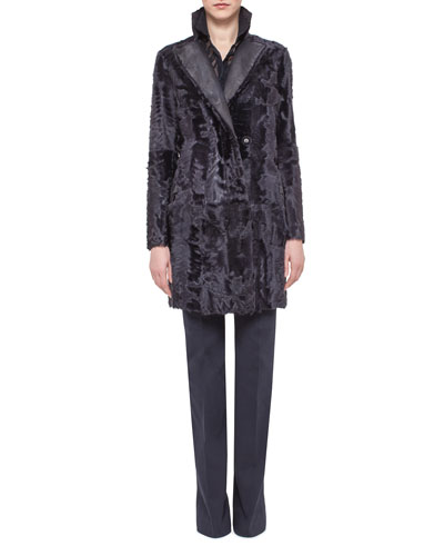 Reversible Shearling Fur Coat, Starling