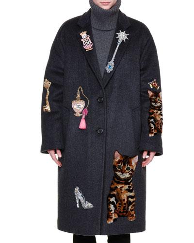 Whimsical-Embellished Cashmere-Blend Coat, Gray