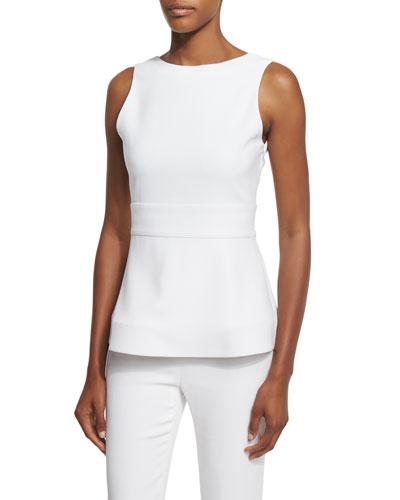 Sleeveless Scoop-Back Peplum Top, Soft White