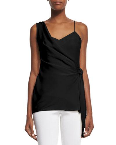 Sleeveless Draped Side-Tie Top, Black