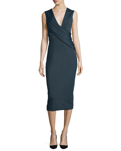 Ibiza Jasmine Sleeveless Draped Dress, Lake