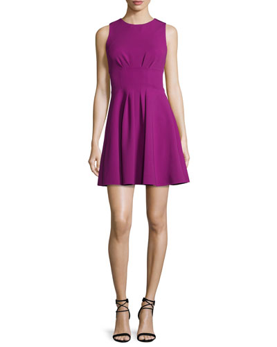 Sleeveless Fit-&-Flare Power Dress, Orchid