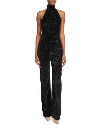 Halter-Neck Straight-Leg Jumpsuit, Black