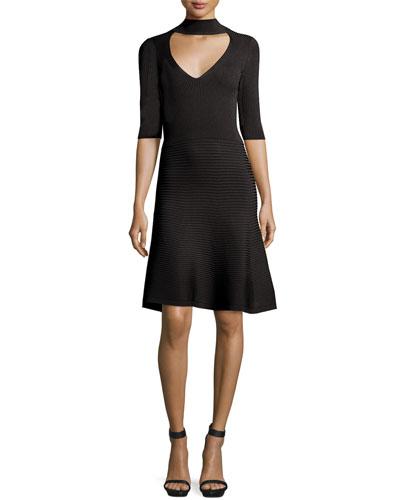 Mock-Neck Ribbed A-Line Dress, Black