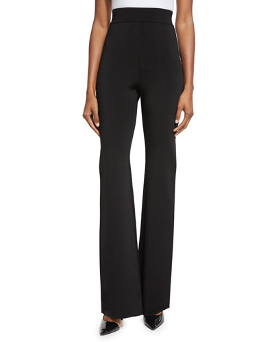 High-Waist Flare-Leg Pants, Black