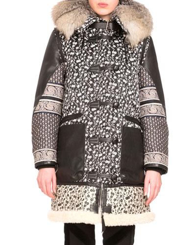 Smyrna Mixed-Print Coat W/Fur Collar, Black/Natural White