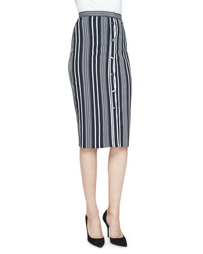 Balthazar Button-Front Classic Pencil Skirt, Black/White Stripe