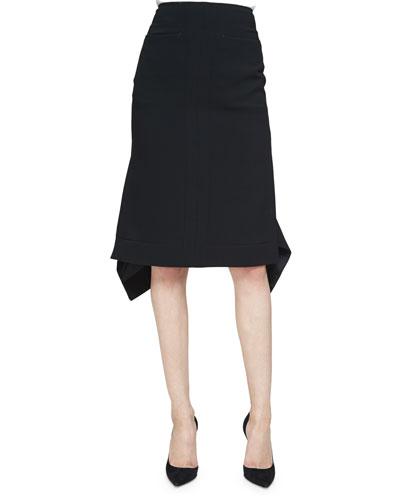 Cyrus Flared-Hem Pencil Skirt, Black