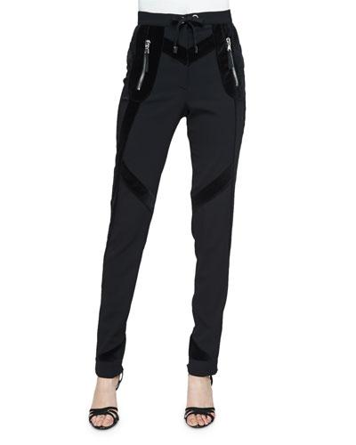 Rye Velvet-Trim Skinny Jogger Pants, Black