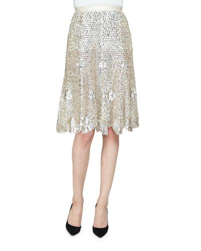 High-Waist Embellished Skirt, Silver
