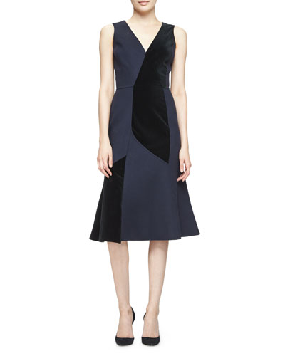 Sleeveless Velvet-Inset Dress, Classic Navy