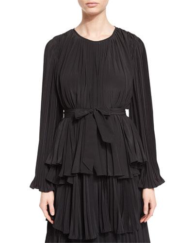 Bell-Sleeve Belted Plisse Blouse, Black