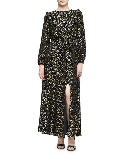 Long-Sleeve Metallic Gown, Black/Gold