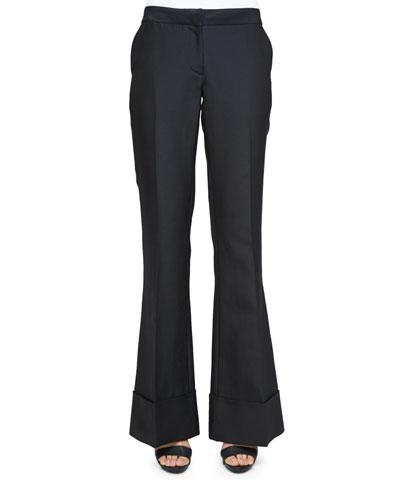Low-Rise Flare-Leg Pants, Black