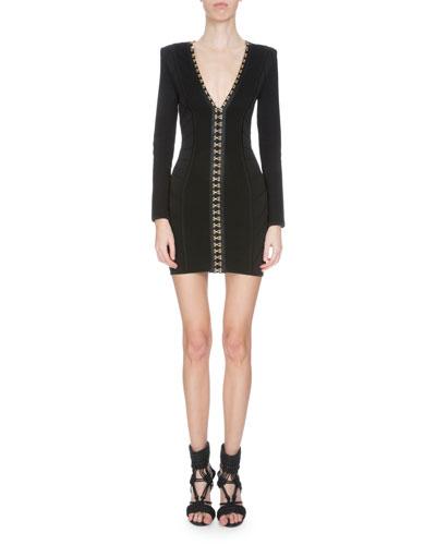 V-Neck Hook-and-Eye Bandage Dress, Black