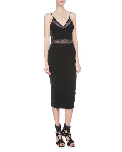 Sleeveless Lace-Inset Sheath Dress, Black