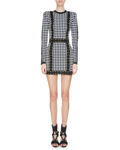 Long-Sleeve Harlequin-Print Mini Dress, Black/White