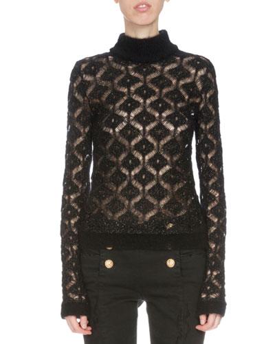Long-Sleeve Diamond-Pattern Sweater, Black/Gold