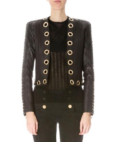 Grommet-Trim Short Leather Jacket, Black