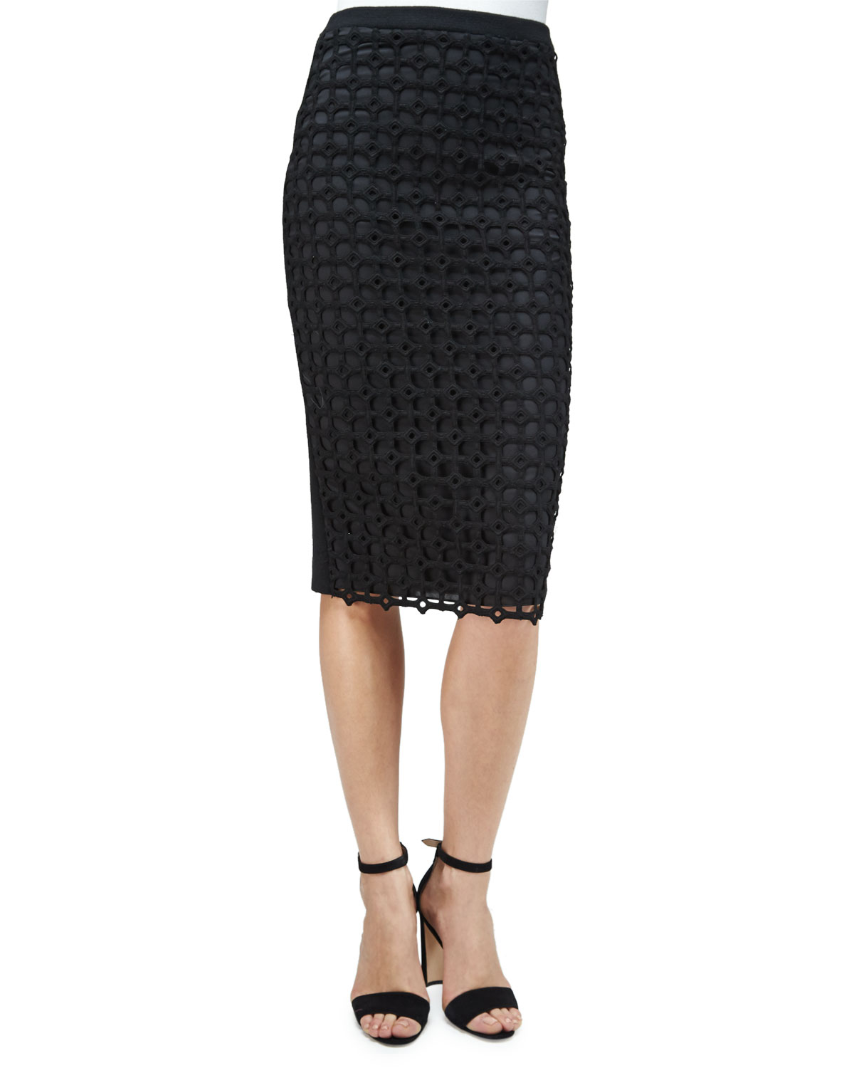 Macrame-Front Pencil Skirt, Black