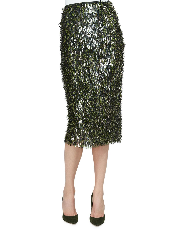 Fringe Embellished Pencil Skirt, Olive/Gold