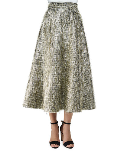 Tinsel-Fringe Full Midi Skirt, Warm Silver