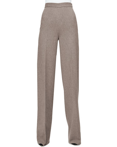 High-Waist Wide-Leg Pants, Taupe