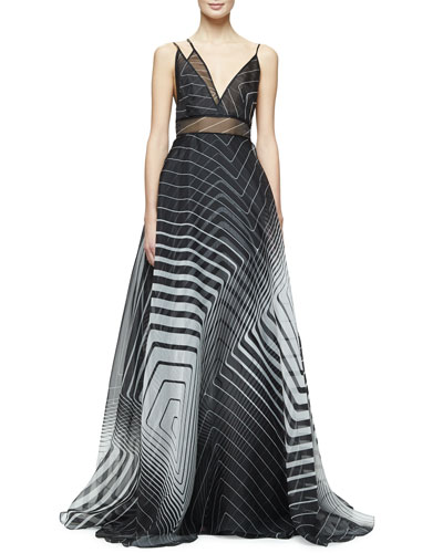 Sleeveless Asymmetric-Neck Printed Gown, Black/Ivory