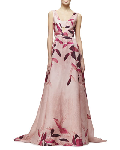 Sleeveless Leaf-Print Gazaar Gown, Fuchsia/Multi