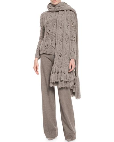 Oversized Leaf-Knit Scarf W/Fringe, Taupe