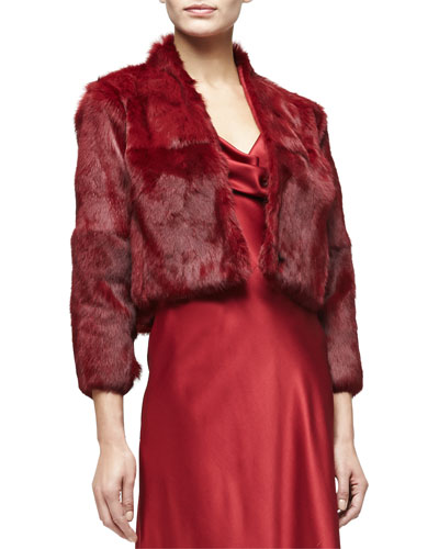 3/4-Sleeve Fur Bolero, Ruby