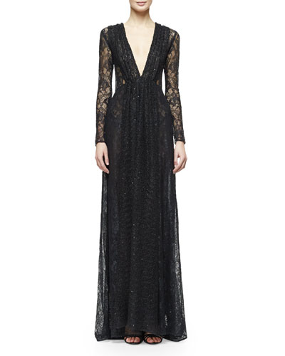 Long-Sleeve Embellished Lace Gown, Black