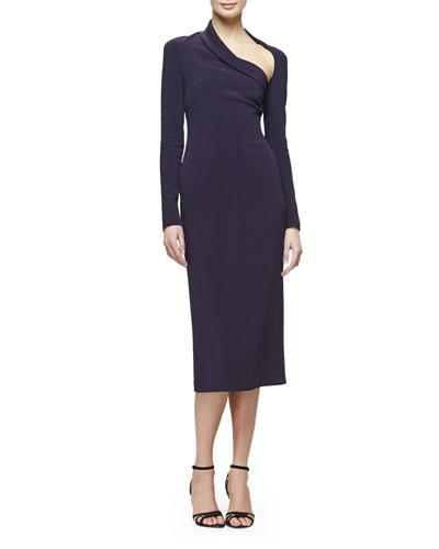 Stella Asymmetric-Neck Sheath Dress, Aubergine