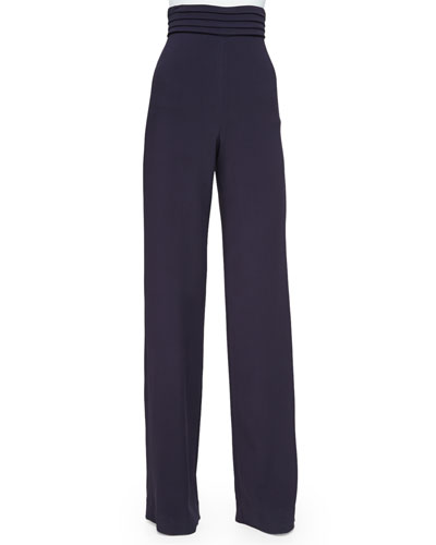 Cummerbund High-Waist Trousers, Aubergine
